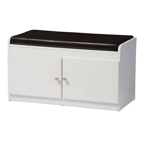 bench shoe cabinet baxton studio margaret modern and contemporary white wood