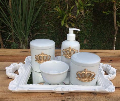 apliques para kit higiene kit higiene beb 234 porcelana aplique coroa dourada bandeja 1