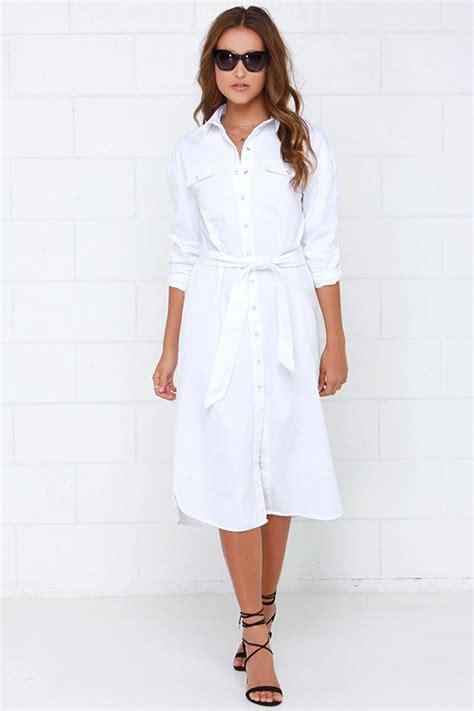 chic white shirt dress collared dress button up dress 99 00