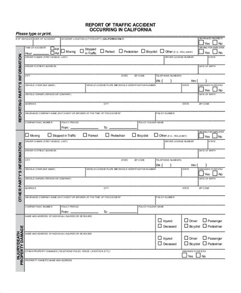 sle dmv accident report form free documents in pdf