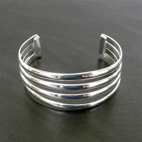 Handcrafted Silver Bracelets - s handmade mexican four bar silver overlay cuff