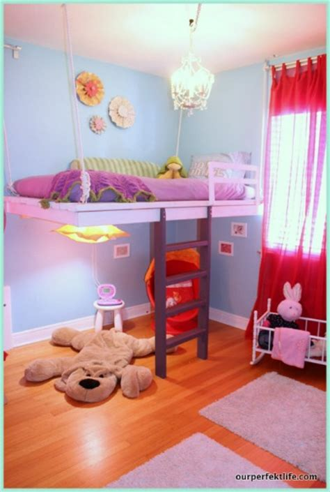 diy girls bedroom remodelaholic diy hanging loft bed in a girl s bedroom