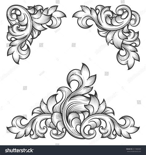 decorative vintage pattern with floral elements vector baroque leaf frame swirl decorative design stock vector