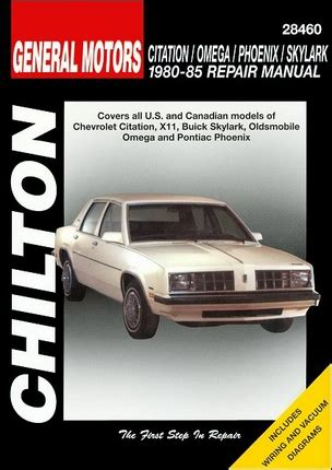 free service manuals online 1980 chevrolet citation spare parts catalogs citation x11 skylark omega phoenix repair manual 1980 1985