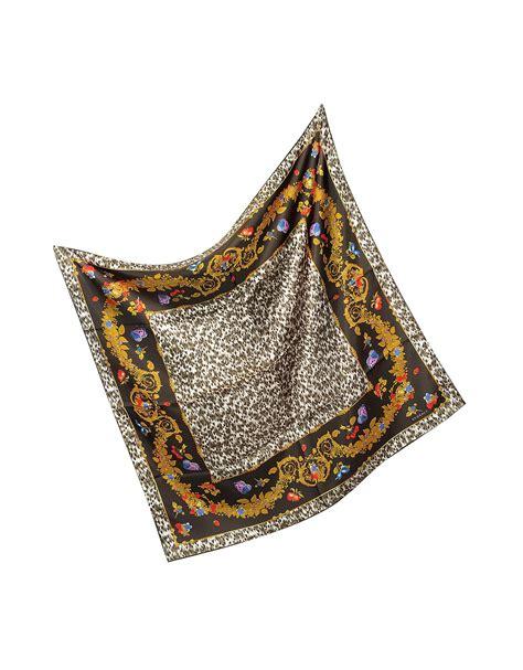 versace leopard print silk square scarf in animal leopard