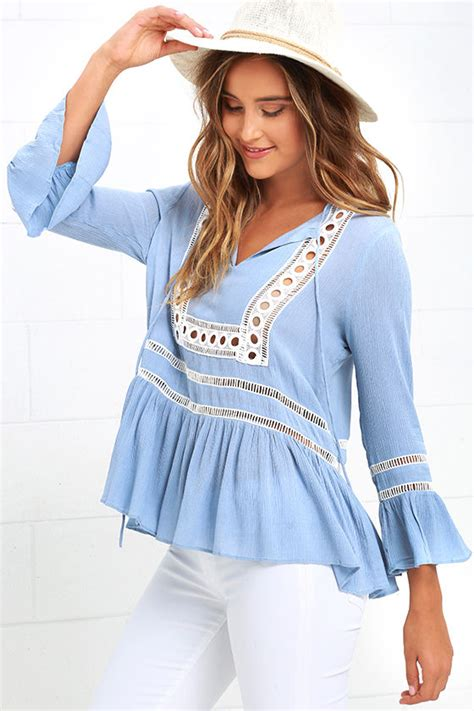 Light Blue Top by Pretty Light Blue Top Embroidered Top Bell Sleeve Top
