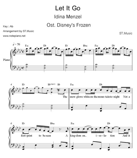 tutorial keyboard let it go piano sheet music for let it go with letters letter note