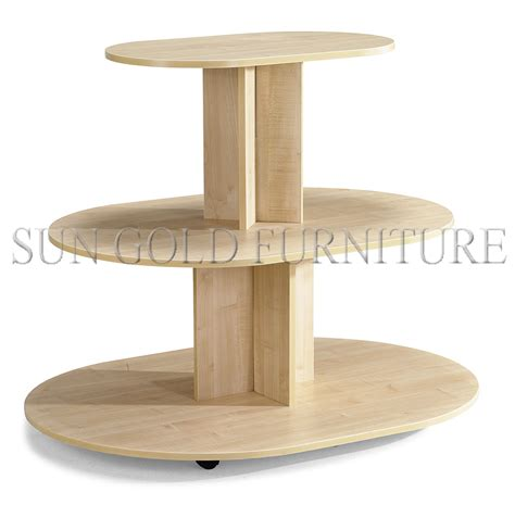 5 tier round wooden display table stand for clothing store