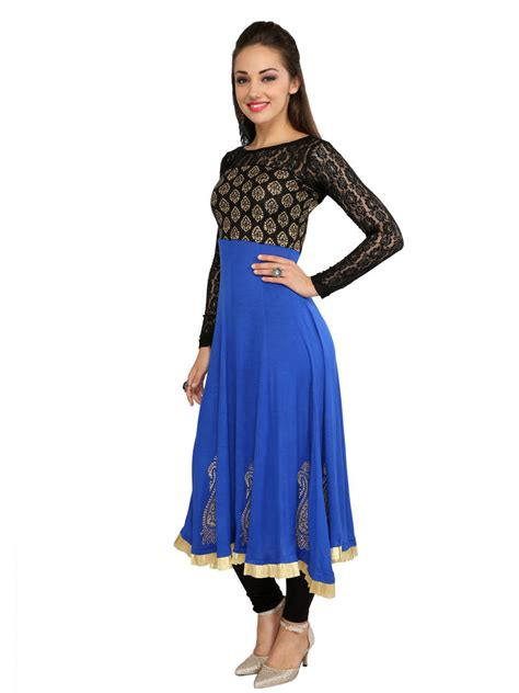 kurti pattern anarkali buy womens ethnic viscose knitted blue anarkali kurta