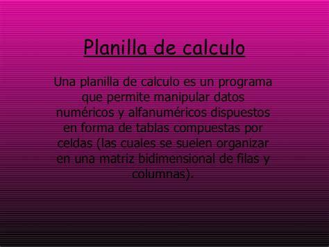 planilla de calculo planilla de calculo