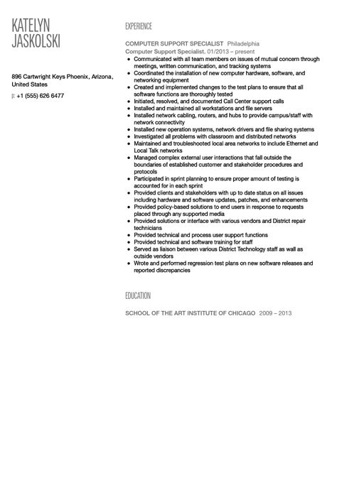 Computer Specialist Resume by Computer Support Specialist Resume Sle Velvet