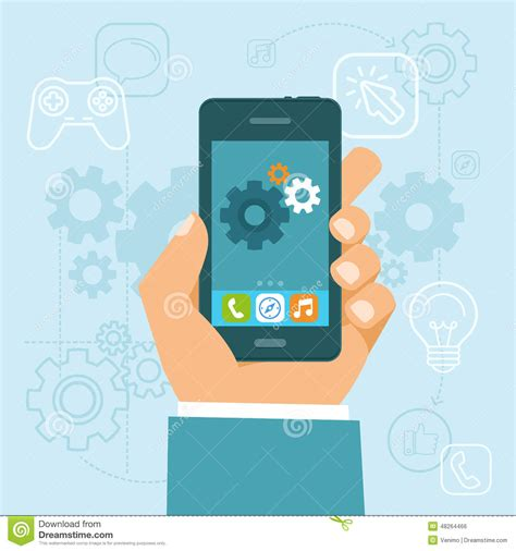 app design elements vector vector app development concept in flat style stock vector