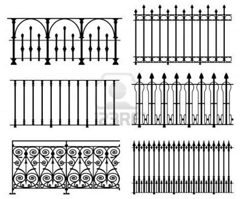 white wrought iron modular railings and fences stock photo