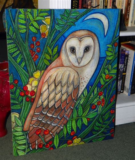 What S In The Barn White Heart Portrait Of A Barn Owl Animal Art By
