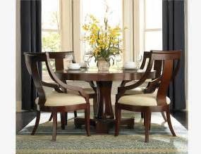 5 pc traditional cherry wood round dining set table chairs