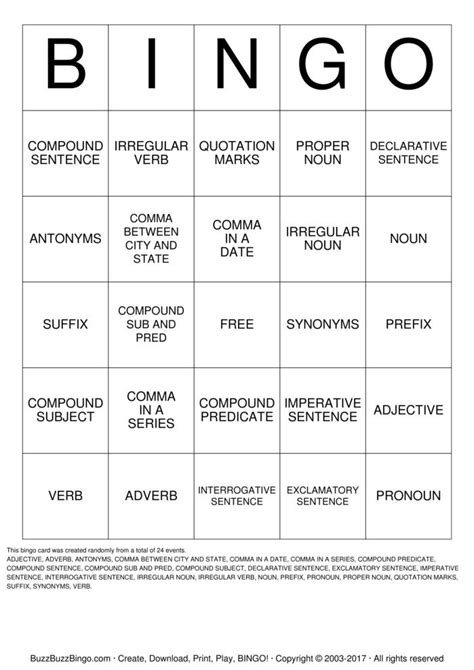 pattern verb synonym language arts bingo cards to download print and customize