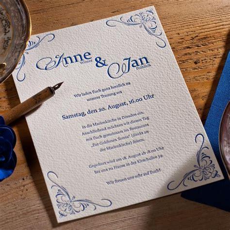 Hochzeitseinladung Trauzeugen by Letterpress Hochzeitseinladung Quot Elizabeth Quot Mit Ornamenten