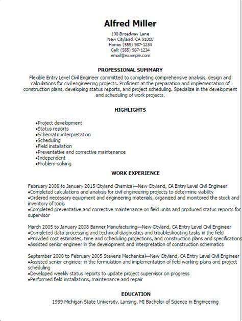 Professional Entry Level Civil Engineer Resume Templates