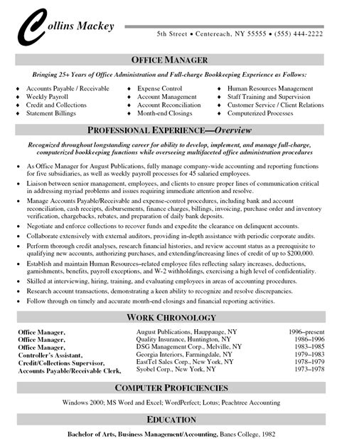 Resume For Office Manager by Office Manager Resume Resumes Sle Resume