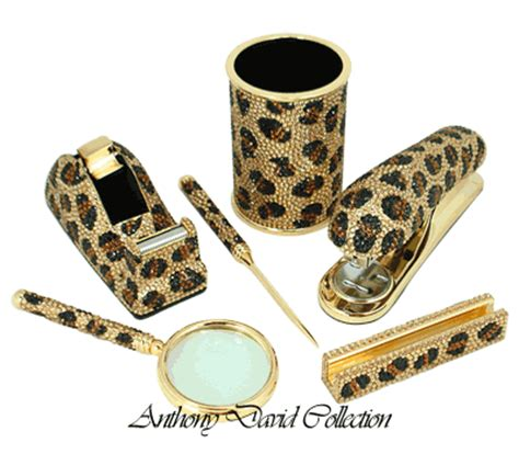 Leopard Desk Accessories 6 Pc Executive Desk Accessory Set With Swarovski Crystals Leopard Ebay