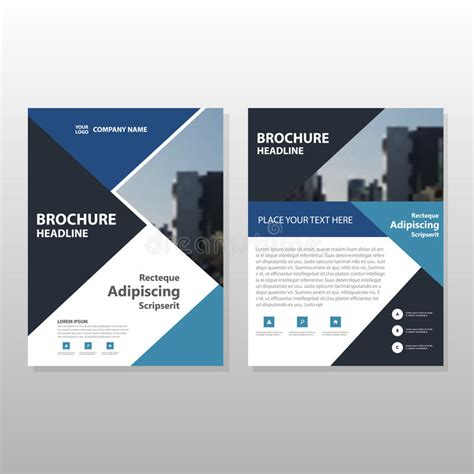 leaflet layout download blue black triangle vector annual report leaflet brochure