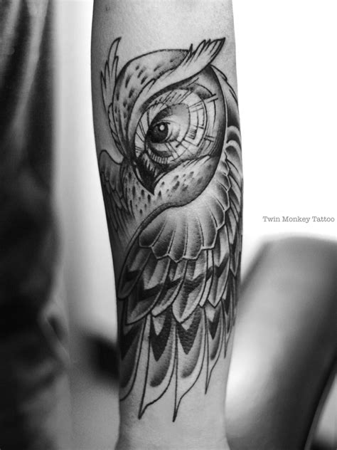 tattoo black and grey animal twinmonkeytattoo owl tattoo art black grey custom
