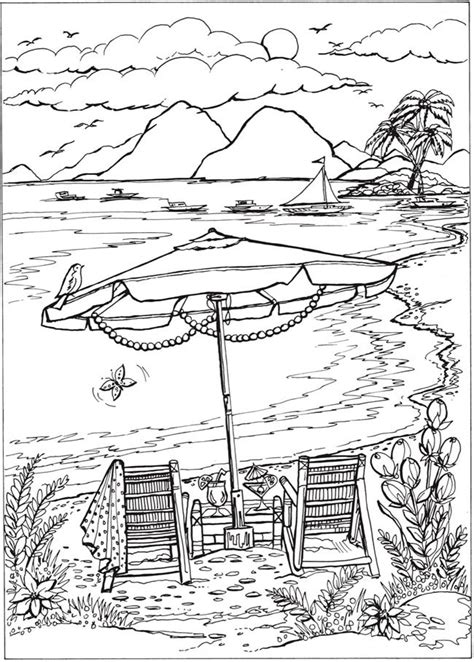 coloring pages for adults beach welcome to dover publications creative haven summer scenes