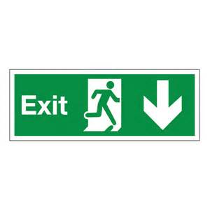 Best Deals On Desks Exit Arrow Down Safety Signs British Standard Fire Exit