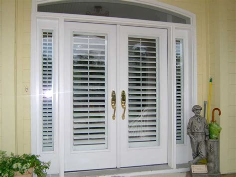 Exterior Door With Built In Blinds Exterior Wood Doors Open Out With Built In Blinds And Narrow Side Windows Painted With
