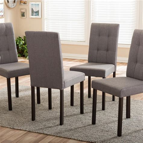 Fabric Upholstered Dining Chairs Baxton Studio Andrew 9 Grids Gray Fabric Upholstered Dining Chairs Set Of 4 4pc 6810 Hd The