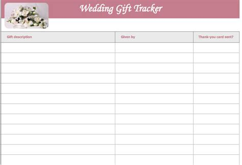 gift card tracking template wedding gift list template microsoft excel templates