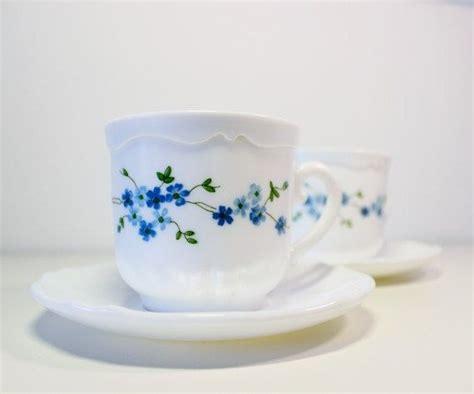 set ot two arcopal tea cup saucer set vintage b234 dishware 2 milk