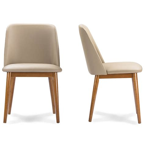 Brim Beige Leather Mid Century Chair (2 Set)   Modern