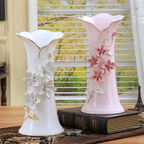 ceramic white pink flowers vase home decor large floor
