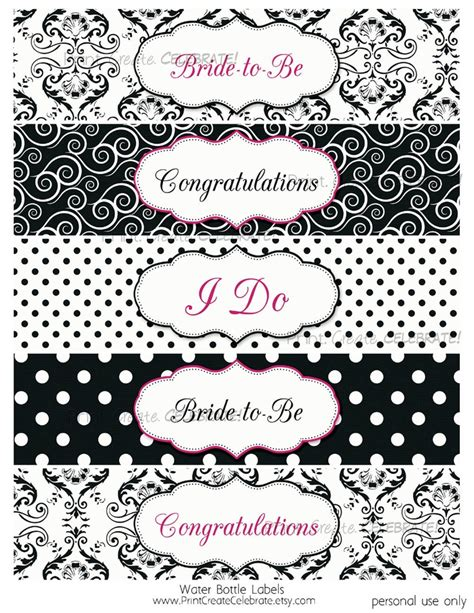 free printable wedding shower labels water bottle labels bridal shower black and white with