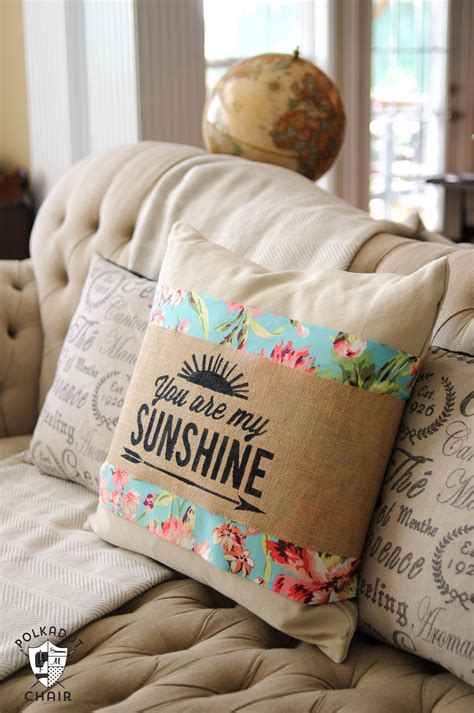 diy stenciled burlap pillow sleeve tutorial with free cut file the polka dot chair