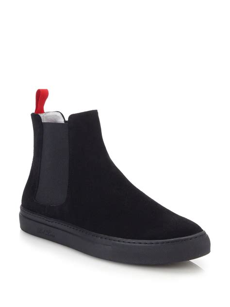 mens sneaker boots toro suede chelsea boot sneakers in black for lyst