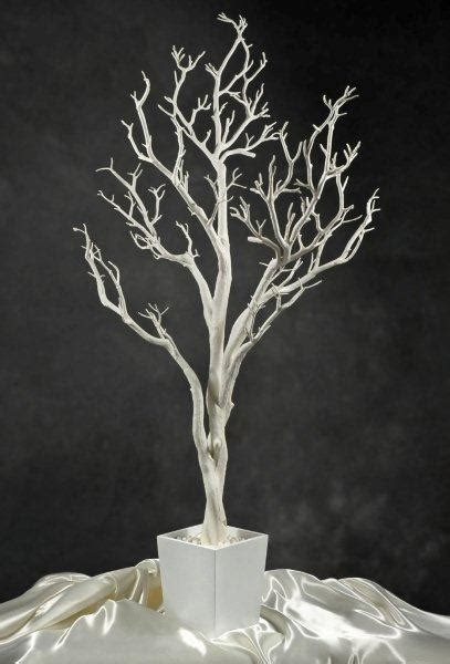 White Potted Wedding Tree 4 Foot Tall Black Ribbon White Tree Centerpieces