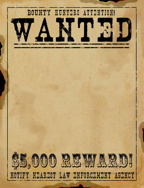 templates for wanted posters old west old west wanted poster template printable online calendar
