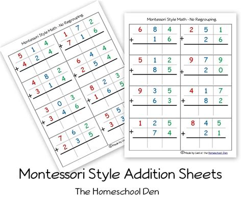 printable montessori math worksheets free montessori style addition sheets and place value