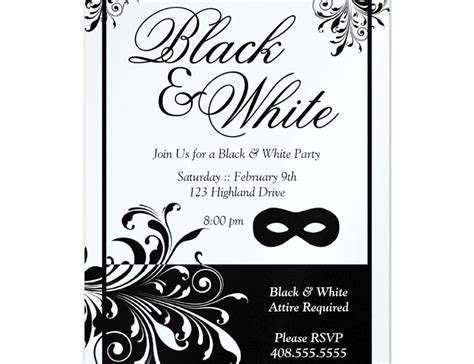 Black And White Party Invitations Templates Cobypic Com Black And White Invitation Template
