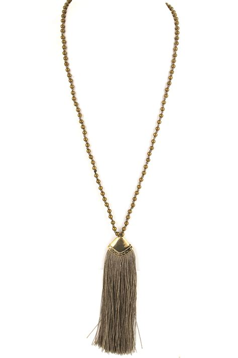 Metal Beaded Tassel Necklace Necklaces