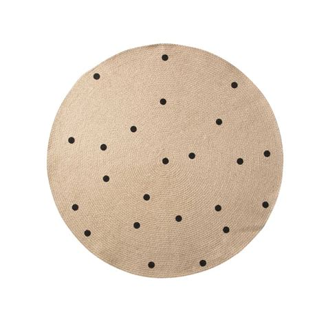 teppich rund 120 black dots jute rug by ferm living in the shop
