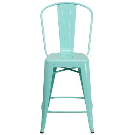 mint green counter stools 24 high mint green metal indoor outdoor counter height