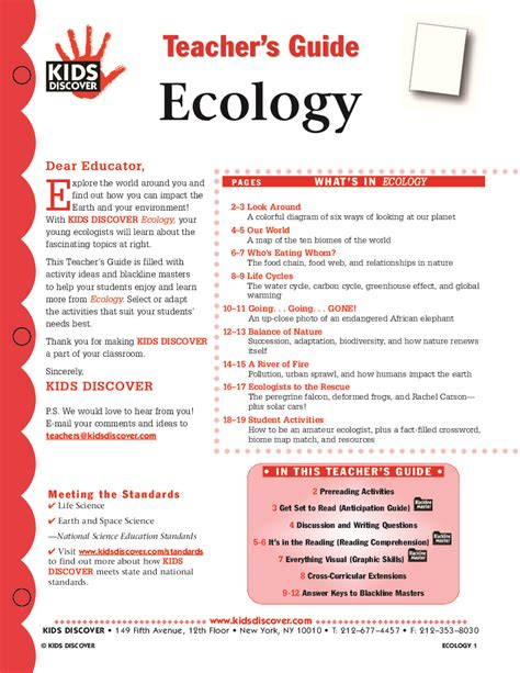 Ecology Worksheets by Ecology Discover