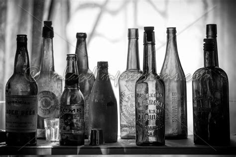 black and white chagne bottle inland impressions photography black and white old