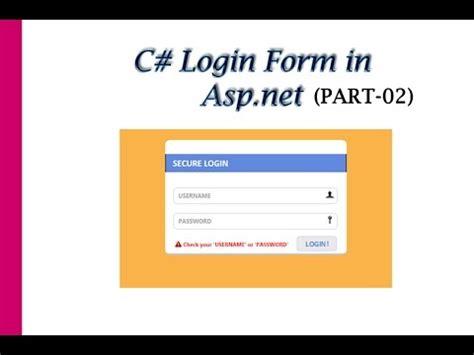 C# Login Form using Asp.net Part-02 - YouTube Login Asp