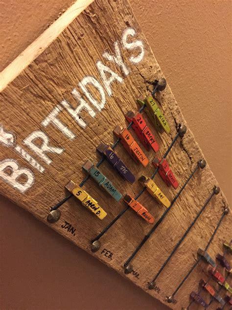 Diy Birthday Calendar birthday calendar with moveable mini clothespins