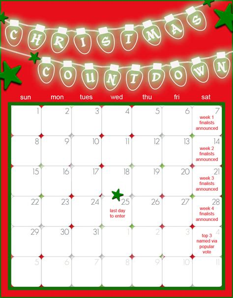christmas day countdown calendar calendar template 2016