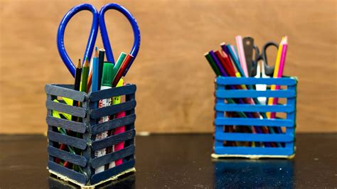 pen stand craft for diy popsicle stick pencil holder pen stand